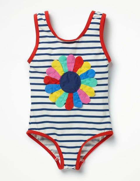 Fun Detail Swimsuit Ivory/Deep Sea Blue Flower Girls Boden