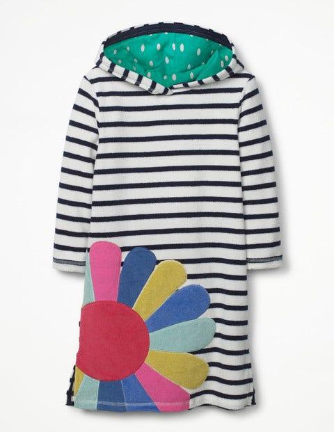 Appliqué Towelling Beach Dress - Ivory/School Navy Flower