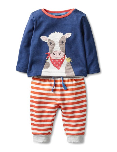 Animal Jersey Play Set Beacon Blue Cow Baby Boden