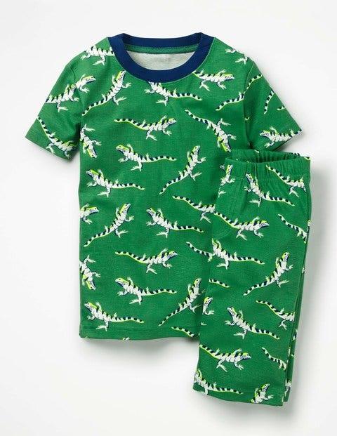 Glow-In-The-Dark Short Pajamas - Runner Bean Green Lizards