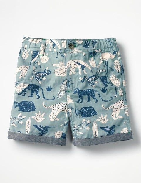 Roll-Up Shorts - Shore Blue Jungle