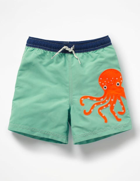 Deep Sea Embroidered Trunks - Aloha Green Octopus
