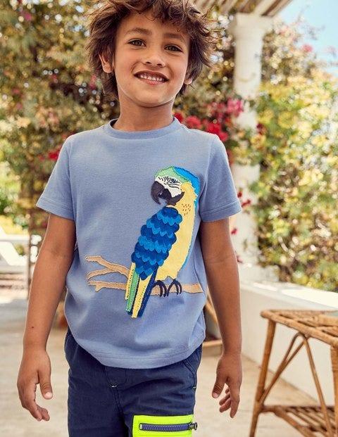 Animal Appliqué T-Shirt - Hook Blue Parrot
