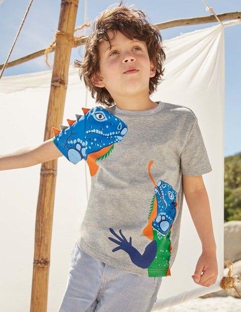 3D Animal T-Shirt - Grey Marl Iguanas