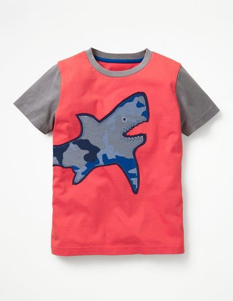Patchwork Animal T-Shirt - Jam Red/Ecru Shark