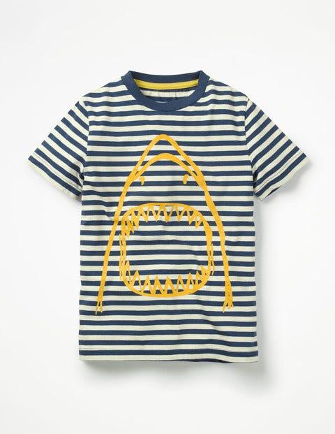 Arty Graphic T-Shirt - Beacon Blue/Ecru Shark