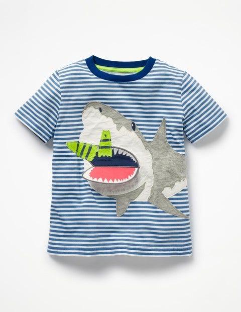 Novelty Summer T-Shirt - Orion Blue/Ecru Shark