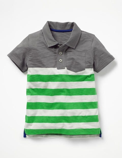 Slub Jersey Polo Shirt - Raft Grey/Toucan Green