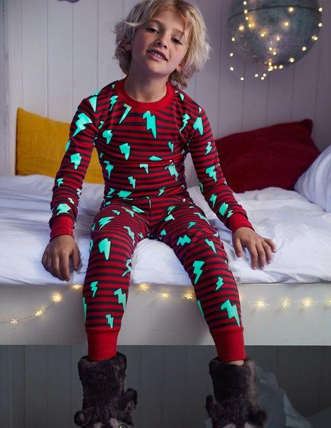 Glow-In-The-Dark Pajamas - Salsa Red Lightning Bolt