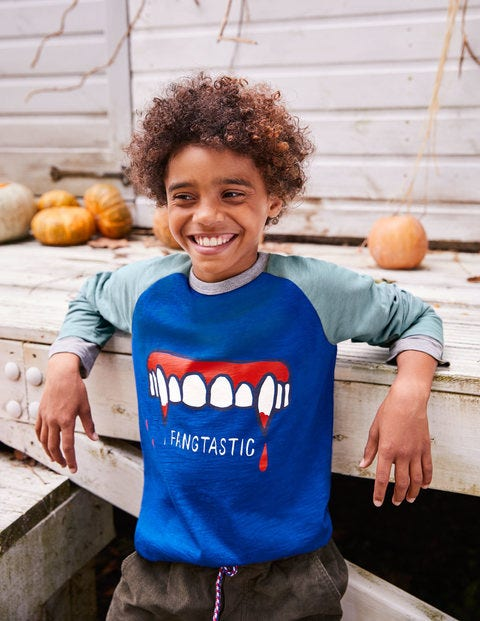 Halloween Raglan T-Shirt - Orion Blue Fangtastic