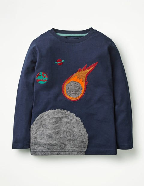 Space Appliqué T-Shirt - School Navy Asteroid