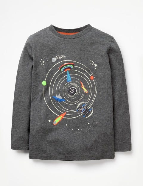 Glow-In-The-Dark Space T-Shirt - Charcoal Marl Outer Space