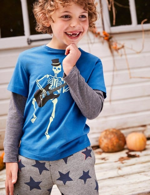 Glowing Halloween T-Shirt - Daphne Blue Skeleton