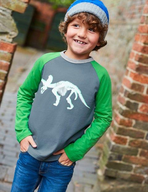 Printed Raglan T-Shirt - Cobble Grey Dino Skeleton