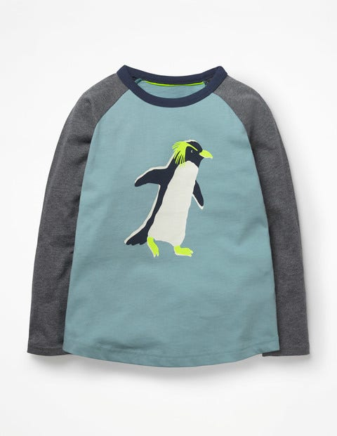 Printed Raglan T-Shirt - Dolphin Blue Penguin
