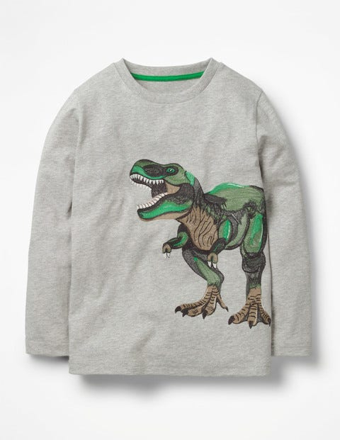 Superstitch Toy T-Shirt - Grey Marl Toy Dino