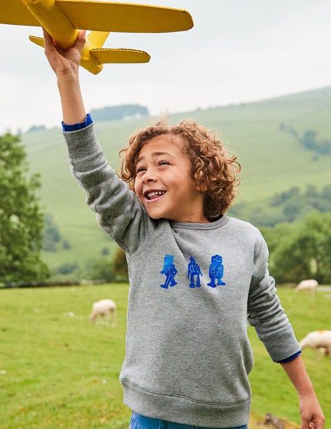 Adventure Toy Sweatshirt - Grey/Daphne Blue Foil Robot