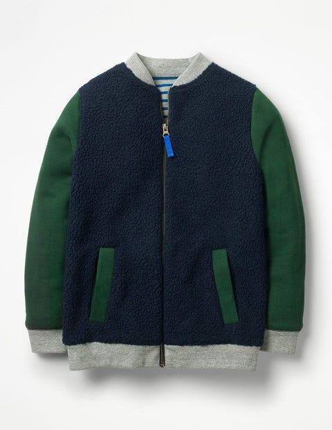 Borg Jacket - School Navy/Scots Pine Green