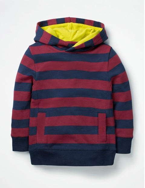 Stripy Hoodie - School Navy/Grenadine Red