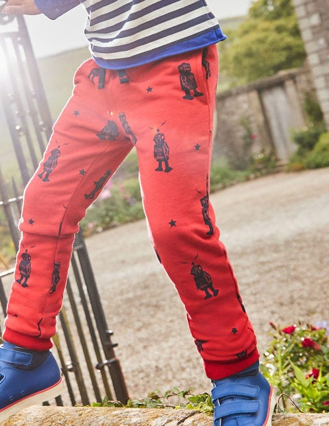 Cosy Lined Joggers - Post Box Red Robots
