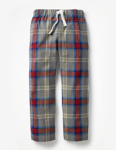 Brushed Pull-On Bottoms - Grey Marl/Postbox Red Check