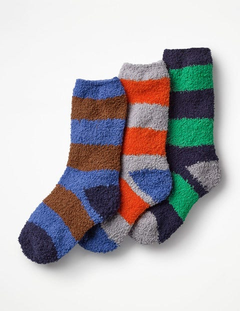 3 Pack Fluffy Socks - Multi Stripes
