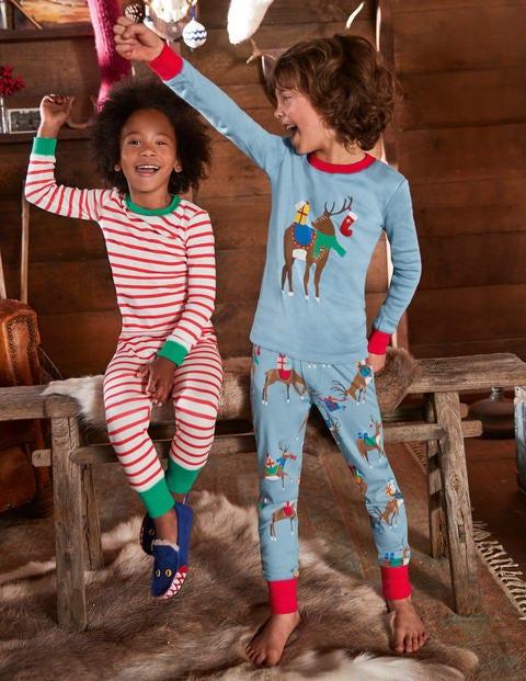 Twin Pack Long John Pajamas - Wren Blue Reindeer Party