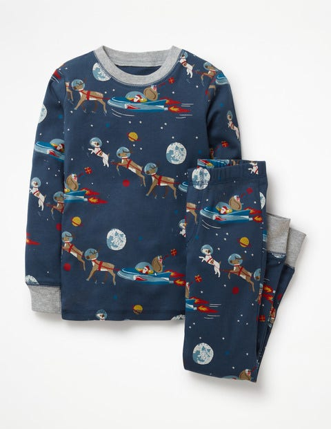 Cosy Long John Pyjamas - Starboard Blue Space Santa