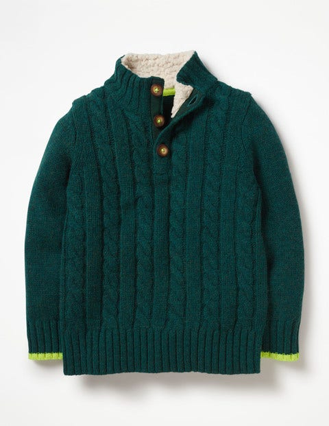 Chunky Button Neck Jumper - Storm Green