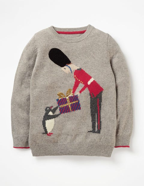 Festive Crew Sweater - Grey Marl Soldier