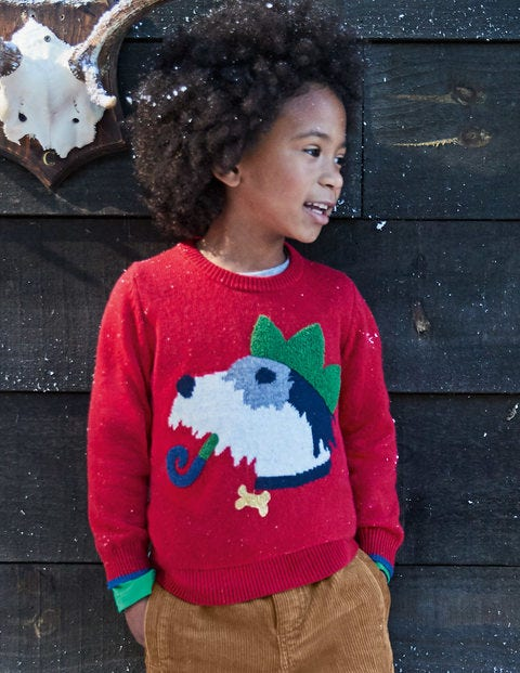 Festive Crew Jumper - Flame Red Sprout