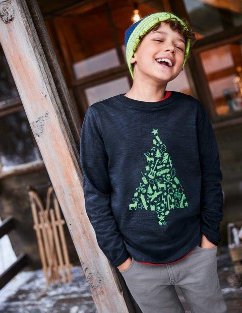 Printed Festive T-Shirt - Midnight Blue Christmas Tree