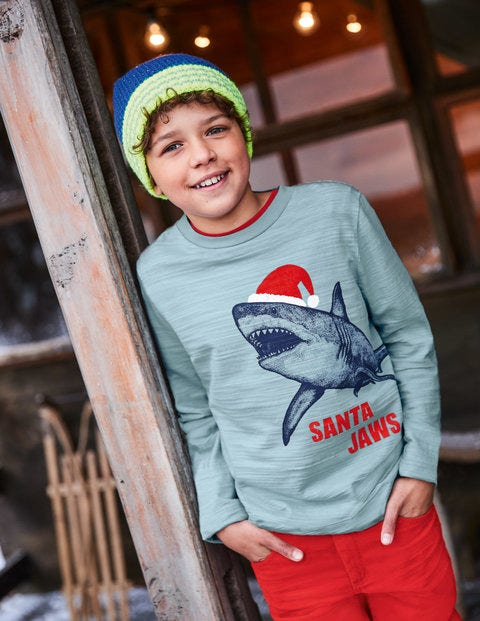Printed Festive T-Shirt - Dolphin Blue Santa Jaws