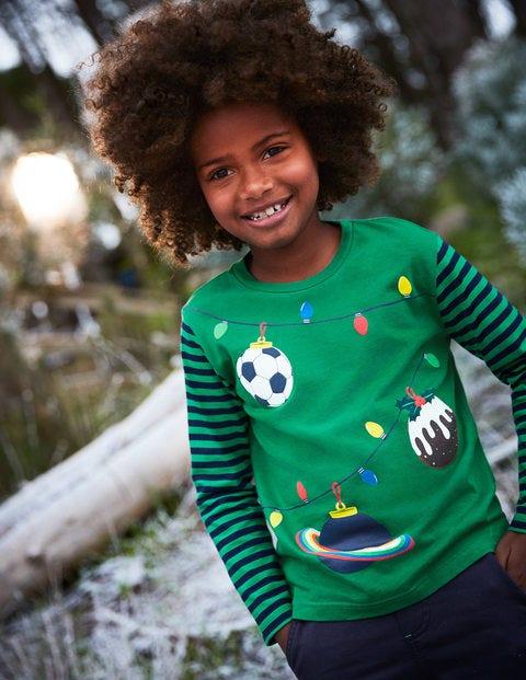 Festive T-Shirt - Watercress Green Baubles