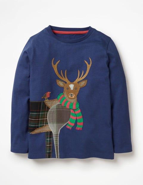Patchwork Animal T-Shirt - Starboard Blue Deer