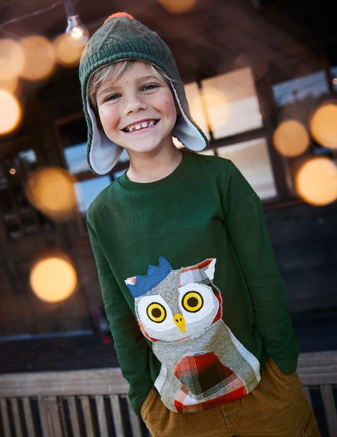 Patchwork Animal T-Shirt - Scots Pine Green Owl