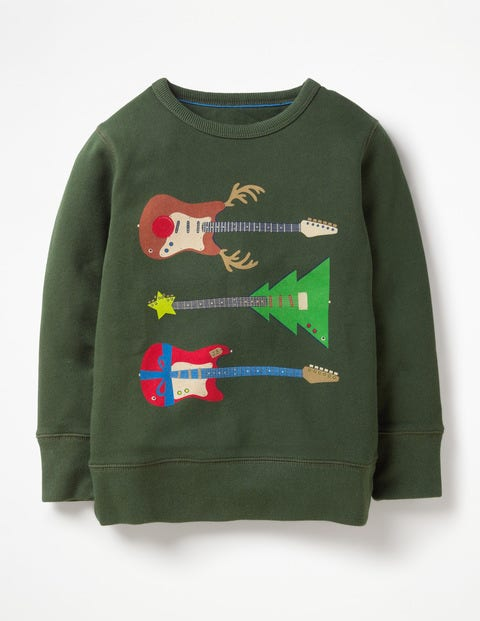 Festive Graphic Sweatshirt - Cucumber Green Guitars