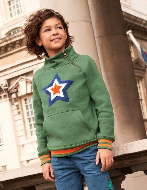 Raglan Zip Popover Sweatshirt - Rosemary Green Star