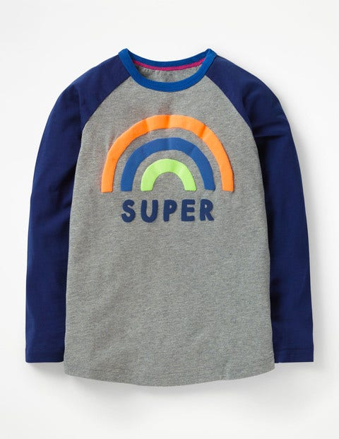 Pop Raglan T-Shirt - Grey Marl Super Rainbow