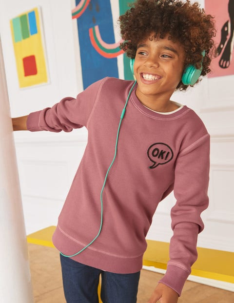 Cosy Textured Sweatshirt - Washed Berry Pink Ok
