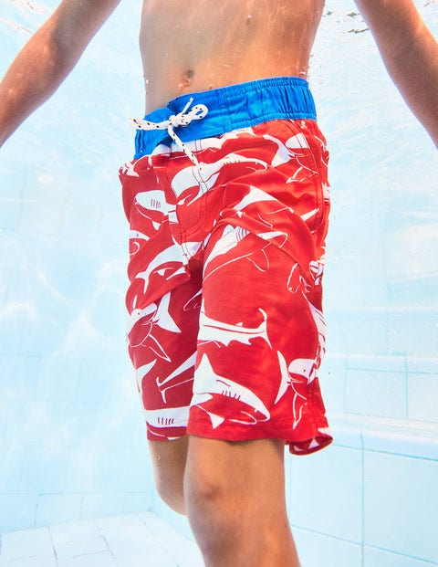 Board Shorts - Washed Red Sharks