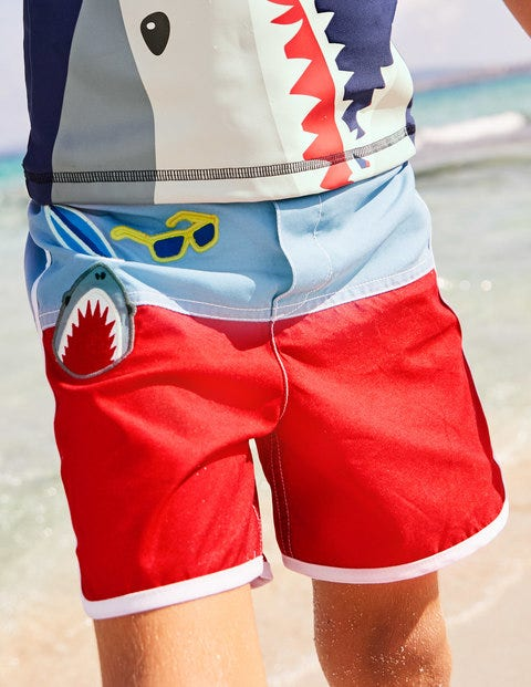 Surf Shorts - Rockabilly Red Badges