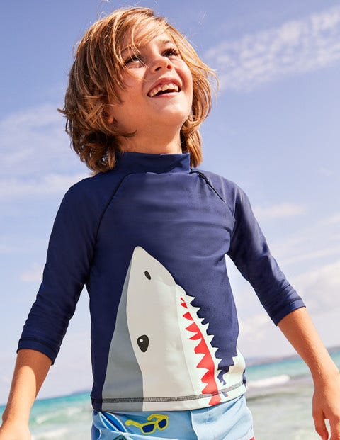 Logo Rash Vest - Deep Sea Blue Shark