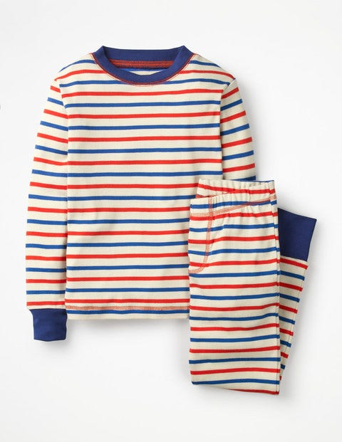 Cosy Long John Pajamas - Ecru/Beam Red/Duke Blue