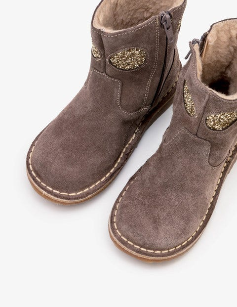 Short Leather Boots - Mouse Brown