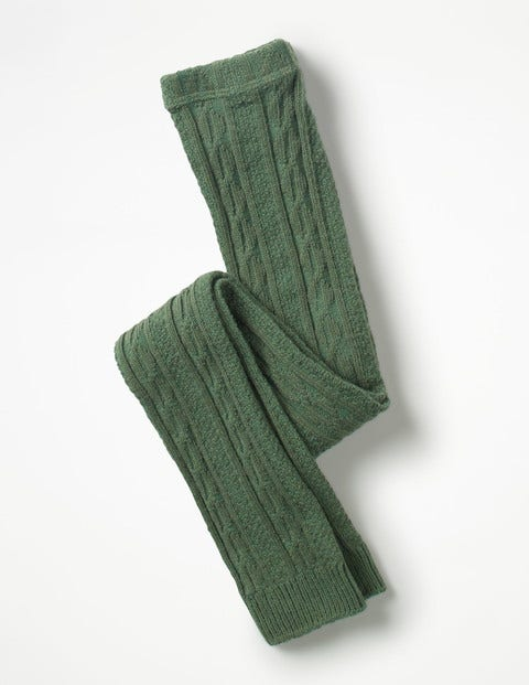 Cable Footless Tights - Willow Green
