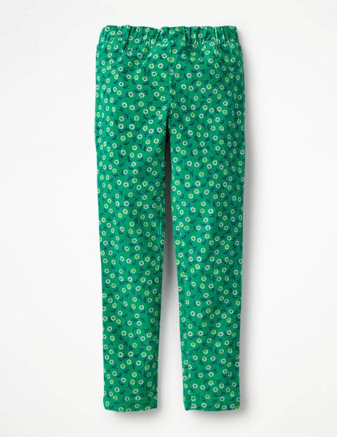Cord Leggings - Green Pepper Retro Daisies
