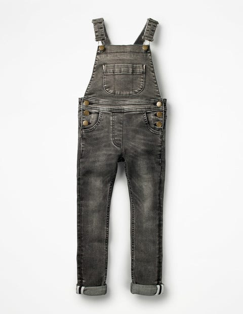 Skinny Fit Denim Overalls - Grey Wash Denim