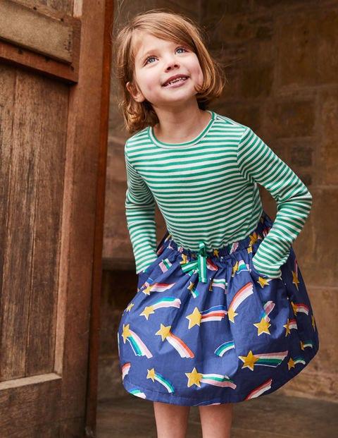 Hotchpotch Tie-Waist Dress - Starboard Blue Rainbow Stars