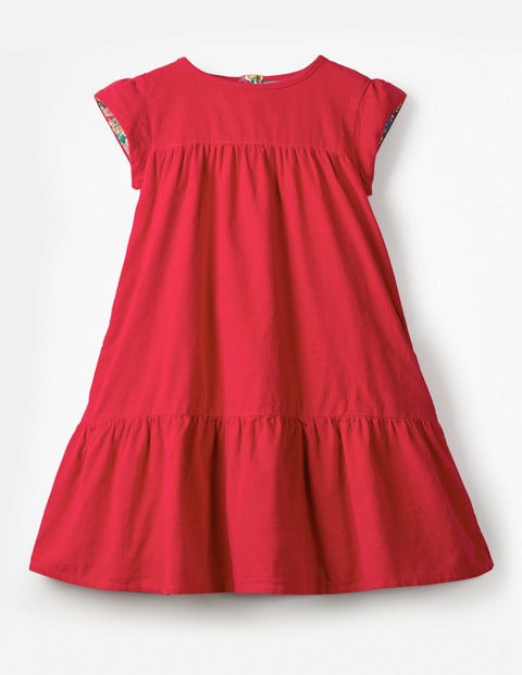 Pretty Cord Dress - Poppy Red